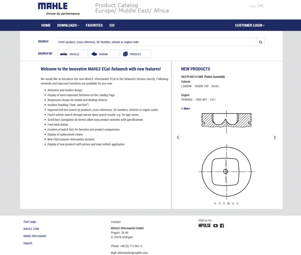 Mahle re-launches online catalogue with new innovative features